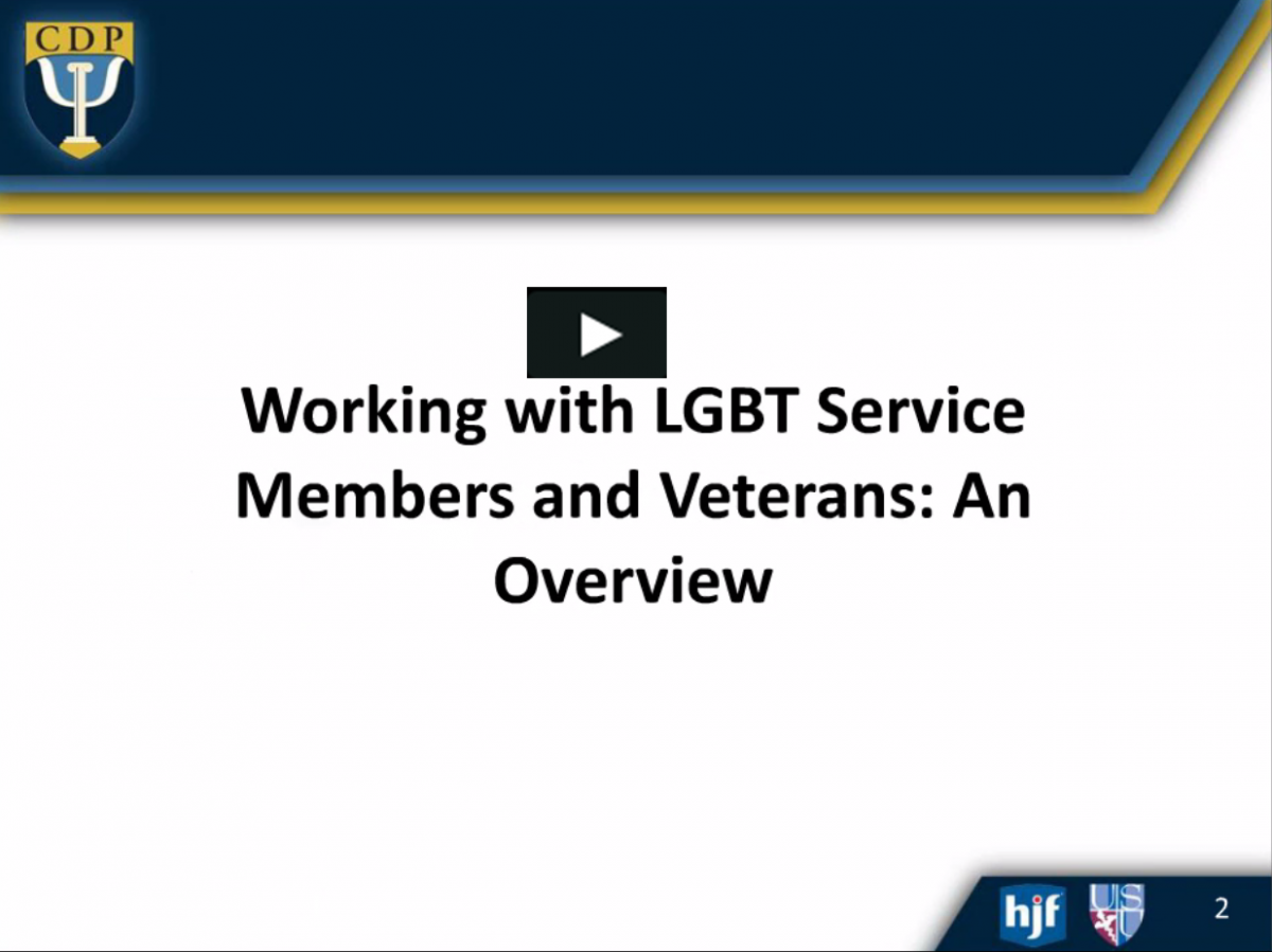 CDP Presents: Working with LGBT Service Members -