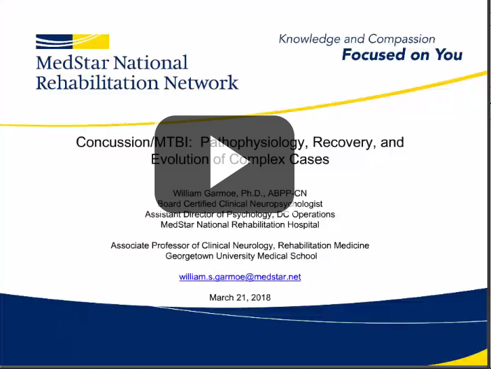 Concussion/mTBI: Pathophysiology, Recovery, and Evolution of Complex Cases Webinar Title Screen