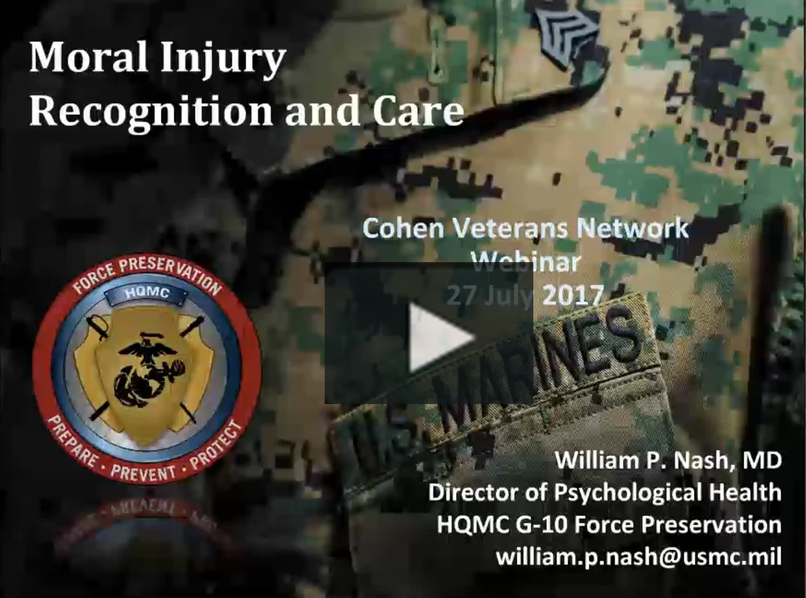 Moral Injury Webinar Title Screen